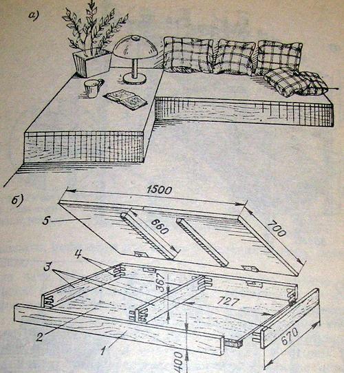 Самодельный угловой диван